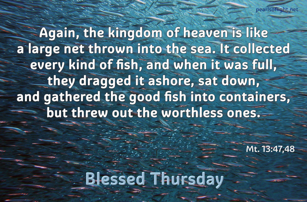 Again, the kingdom of heaven is like a large net thrown into the sea